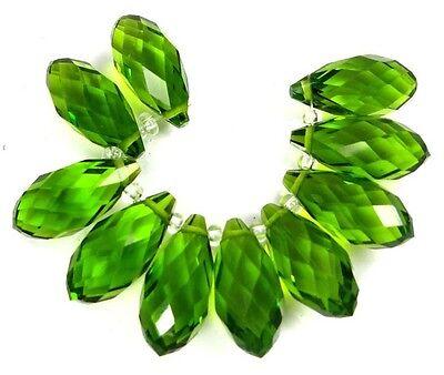 20x9mm Peridot Green Glass Quart Faceted Teardrop Beads (10)