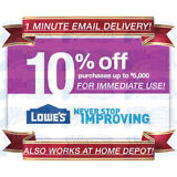 LOWES IN-STORE & ONLINE 10% OFF DISCOUNT PROMO CODE 1COUPON EXP 10/31