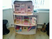 Tall dolls house + furniture + few dolls 116 cms high