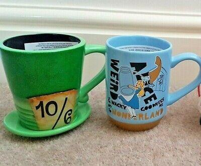 Disney Store Alice in Wonderland Blue Gold Mad Hatter Mug Cup Tea Coffee - Blue Mug Cup