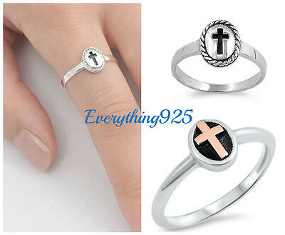 Sterling Silver 925 CROSS DESIGN SILVER BAND RING 8 & 9MM SIZES 1-10 W/ GIFT BOX Cross 925 Silver Ring
