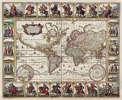 Dekorativ Reproduktion Vintage Alt Farbe Antik Visscher Welt Wand Landkarte