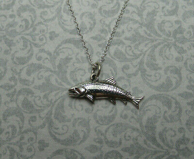 Leaping Trout Pendant Ocean Sea Fish Sport Fishing Necklace 925 Sterling - Fish Sea Trout