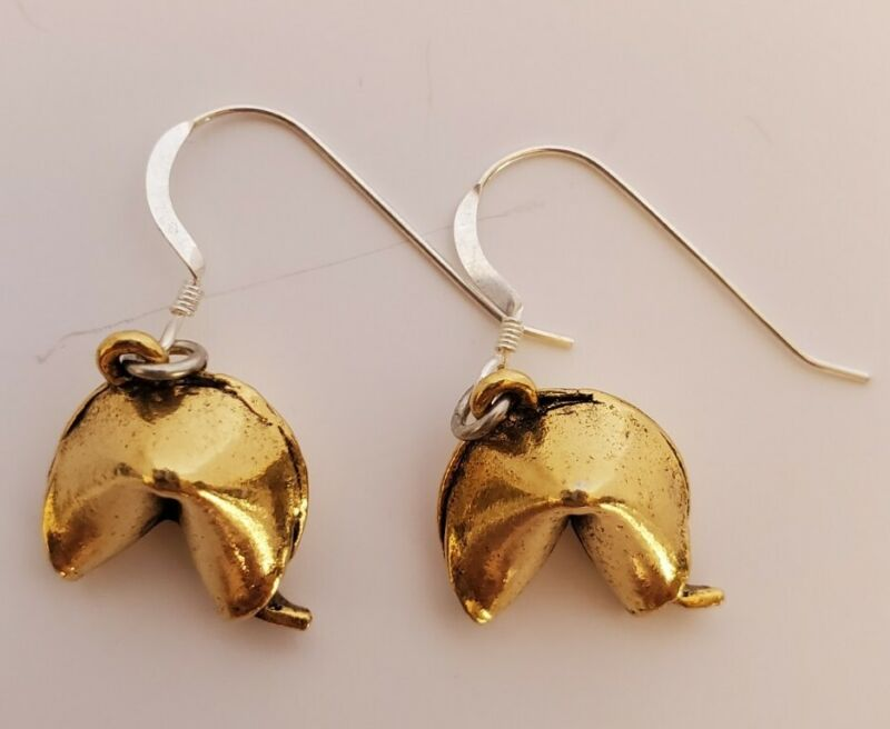 Vintage Fortune Cookie Gold Tone