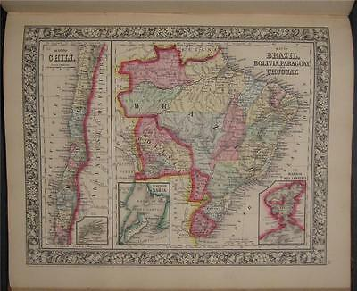 1863 Antique Mitchell Map Brazil Paraguay Chili Uruguay