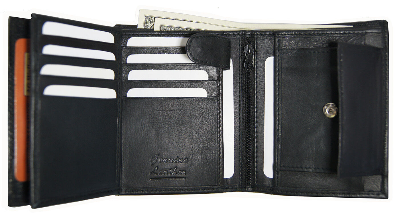 AG Wallets Mens Leather Trifold Wallet Hipster Multi Card And ID Holder Black
