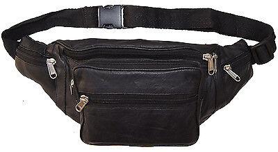 Leather Waist Bottle Fanny Pack Belt Pouch Travel Hip Purse Men and Women Black