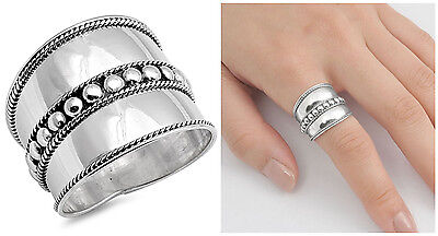 Sterling Silver 925 LADIES MEN'S HANDMADE BALI BEADS ROPE DESIGN RING SIZE 5-12 - Men's Beaded Rings
