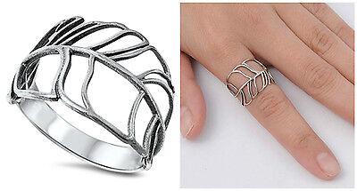 Sterling Silver 925 LADIES LEAF DESIGN SILVER RING 15MM SIZES 5-10 Leaf Design Ring