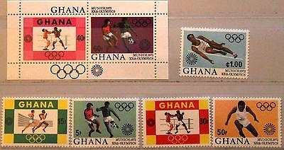 GHANA 1972 472 76 A B BLOCK 46 454 459 OLYMPICS M NCHEN SOCCER BOXING SPORT MNH