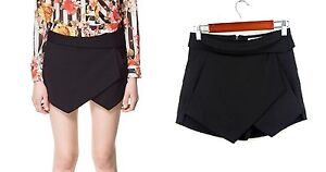 **Bloggers MUST HAVE Black / White Wrap Mini Skort Skirt Short LOOKBOOK**
