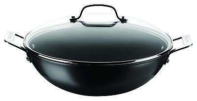 Circulon 80021 Generic Hard Anodised 34 cm Wok /Stir Fry with Glass Lid - Black - Circulon Wok