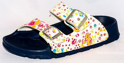 Birki Sandals by Birkenstock for Girls Strap  Haiti Magic Flower White - Birkenstock Sandals For Girls