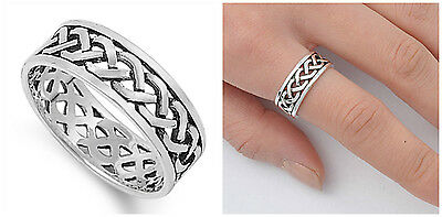 Sterling Silver 925 CELTIC DESIGN SILVER BAND RING 8MM SIZES 4-13 925 Silver Celtic Ring
