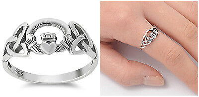 Sterling Silver 925 PRETTY CELTIC CLADDAGH DESIGN SILVER RING 8MM SIZES 3-13