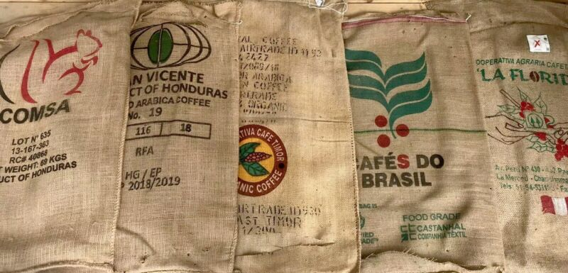 (1) Single Imported Coffee Burlap Bag, Clean , Cut On 1 End, Crafts Decor Timor