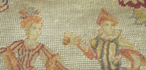 19TH CENTURY ANTIQUE FRENCH NEEDLEPOINT PETITPOINT with FIGURAL MOTIF UU516