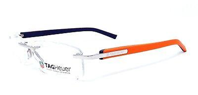 Tag Heuer Trends TH8108 012 Rimless Eyeglass Optical Frames Orange & Black 54mm