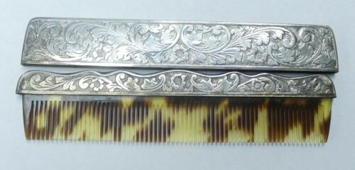 Edwardian Sterling Silver Cased Hair Comb  - b