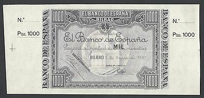 Spain   El Banco De Espana  Bilbao  Unissued 1000 Pesetas  1937 Ps567s Specimen