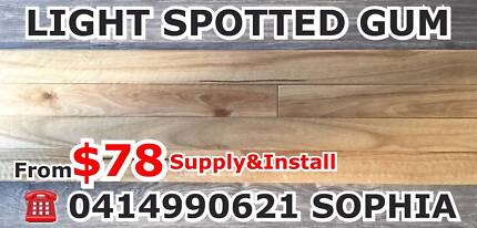 SUPPLY&INSTALL SPOTTED GUM FLOORING SOLID TIMBER FRM$78 SALE SALE