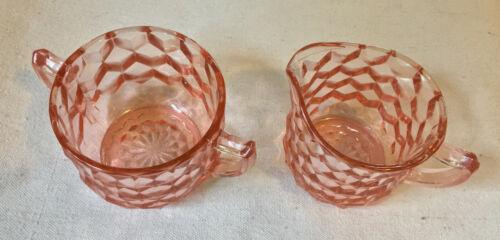 Pink Depression Glass Creamer and Sugar Bowl Cube Pattern