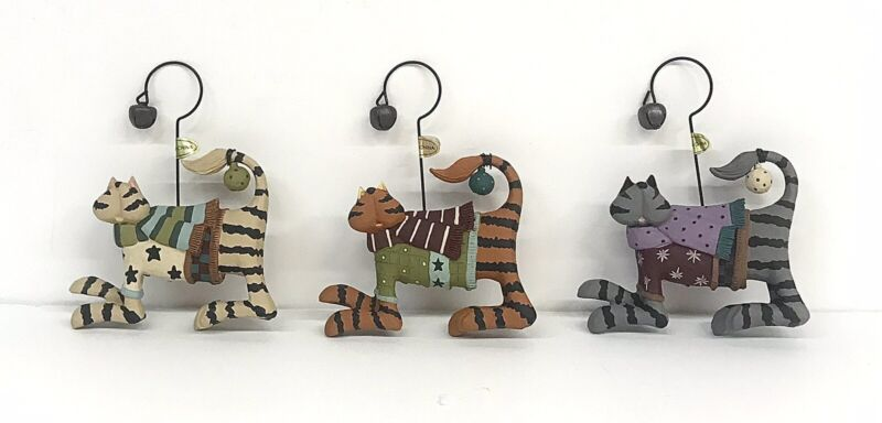 COLDWATER CREEK DAPPER CAT Christmas Tree Ornaments Set of 3 Holiday Collection