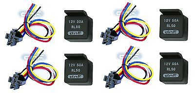4 PAIR 50 AMP 12V BOSCH STYLE RELAY& HARNESS SOCKET SPDT + 100% COPPER WIRES