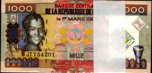 2010 Guinea 1000 Francs Uncirculated Bundle 100 Notes