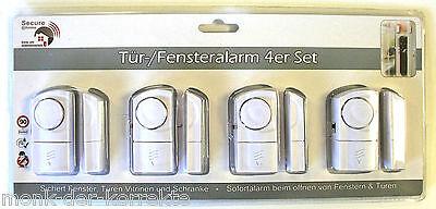 4 X Secure Home Fenster Tür Melder Alarm Fenstersicherung Einbruchschutz Fenster
