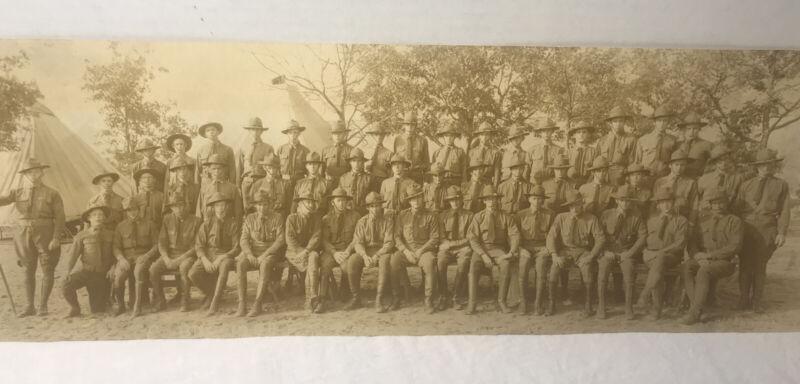 """Antique U.S. Military PANORAMIC  PHOTO WWI ww1 18"""" X 6""""."""