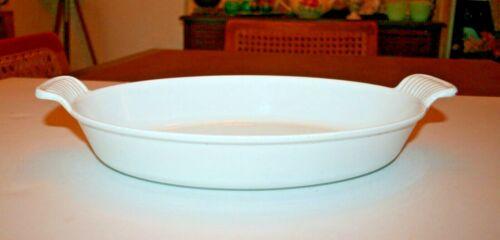 "Le Creuset Classic White Enamel Cast Iron #28 Oval Au Gratin 11"" Baking Dish Pan"