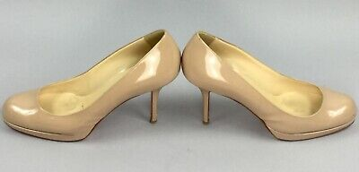 CHRISTIAN LOUBOUTIN Nude Patent Leather New Simple Pumps Women's Shoes Size 37