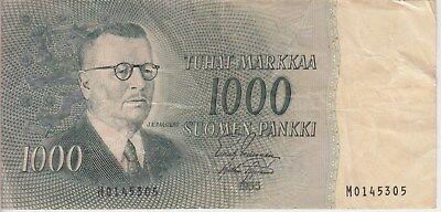FINLAND BANKNOTE P93-5305, 1000 1.000 1,000 MARKKAA 1955, PREFIX M, FINE