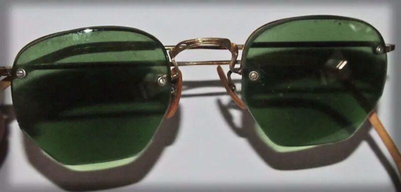Vintage 1930s Sunglasses B&L 1/10 12 KT GOLD FILLED perscription lenses