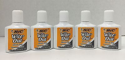 Bic Wite Out Correction Fluid Quick Dry Formula 20ml White Lot Of 5 New