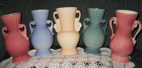 "Vintage Lot of 5 Royal Copley Double Handled 8"" Beautiful Vases"