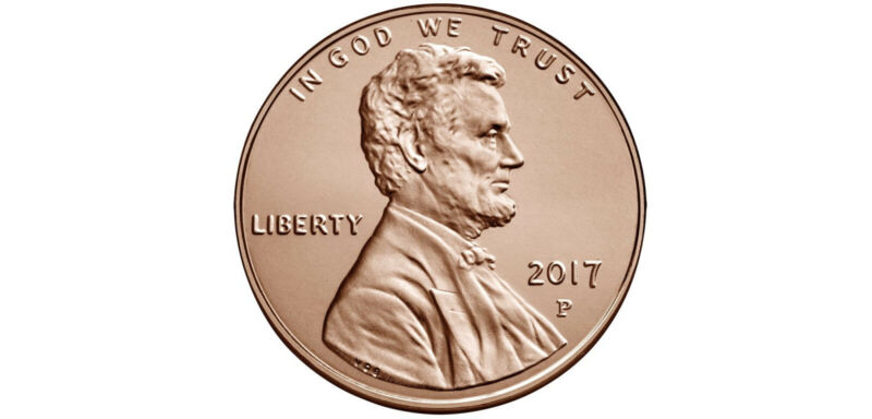 Roll of 2017 P Uncirculated Pennies