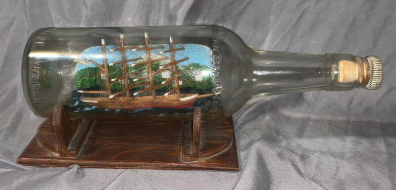 Rare Early 1900s Antique Sailing Ship in Bottle Coastal Diorama!