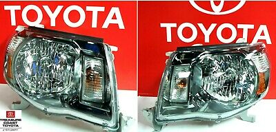 NEW OEM 05-11 TOYOTA TACOMA TRD SPORT DARK CHROME FRONT HEADLIGHT UPGRADE 2 PCS