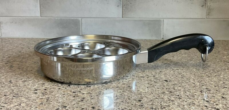"SALADMASTER 9"" Skillet Sauce Pan T304S Stainless Steel & Egg Poacher Set No Lid"