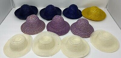 Vintage Lot Of 11 Doll Straw Hats For Dolls or Crafts