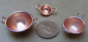 1-12-Three-Victorian-Copper-Bowls-Dolls-House-Miniature-Food-Kitchen-Accessory