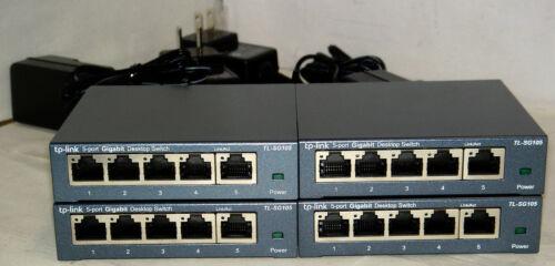 Lot of 4, TP-Link TL-SG105 5-Port Gigabit Ethernet Desktop Switches, Steel Case