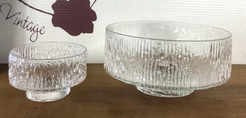 Rare White Vintage Whitefriars Bark Textured Glass Fruit Bowl + Bowl ByG. Baxter