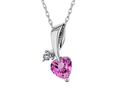 3 Mm Sapphire Heart - Carat 3mm Created Pink Sapphire Heart Pendant w/ Diamond in Sterling Silver