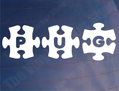 PUG JIGSAW Peugeot Car/Van/Window/Bumper Vinyl Stickers - Various Colours