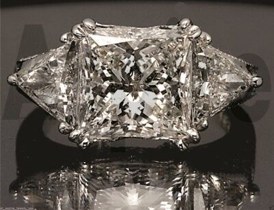 5.50 cts Princess Trillion Cut Diamond Engagement Ring Solid 14k White Gold