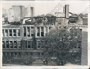 1937 Hastings on the Hudson New York Fire Gutted Old High School Press Photo