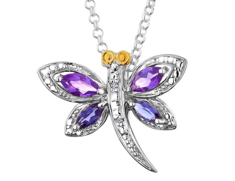 Amethyst /& Iolite /& Diamond Pendant 5//8 ct in Silver